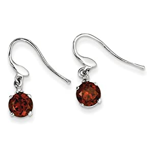 Genuine IceCarats Designer Jewelry Gift Sterling Silver Rhodium Round Garnet & Diamond Wire Earrings In Sterling Silver