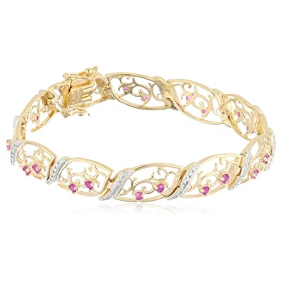 "18k Yellow Gold Plated Sterling Silver Ruby and Diamond Accent Bracelet, 7.25"": Tennis Bracelets: Jewelry"