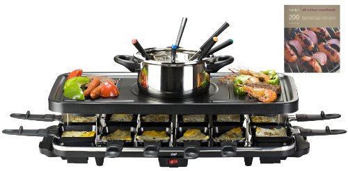 get nowshef 12 person raclette grill with 6 fork fondue set 12 raclette pans free hamlyn. Black Bedroom Furniture Sets. Home Design Ideas