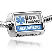 "Neonblond Beads Medical Alert Blue ""I have Allergys"" - Fits Pandora Charm Bracelet from NEONBLOND Jewelry & Accessories"