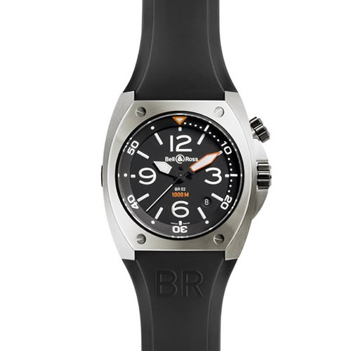 Bell & Ross BR0220CA 45 Automatic Stainless Steel Case Black Rubber Anti-Reflective Sapphire Men's Watch