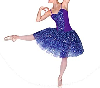 Buy Body Wrappers Knee Length Glitter Scroll Tutu BRGHT PURPLE 6X-7 by Body Wrappers