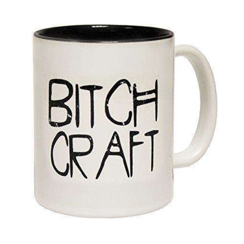 """123t Mugs-Tazza in ceramica, scritta """"BITCH, con interno, colore: nero"""