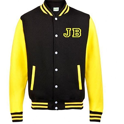 Justin Bieber Fan American College Baseball Stile Varsity Giacca Yellow Medium