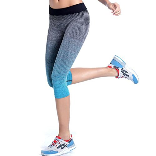 Wensltd Women Sports Yoga Pants Elastic Compression Tights Fitness Women Running Trouser (M, Blue)