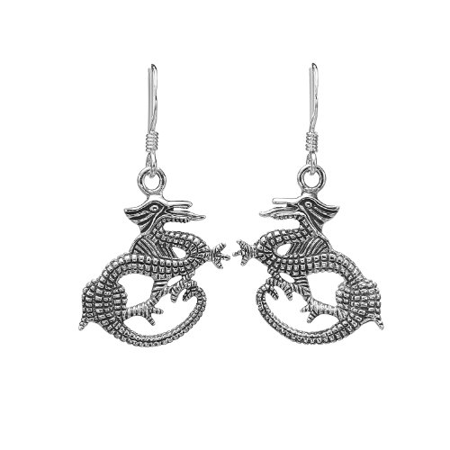 925 Oxidized Sterling Silver Detailed Dragon, Symbol of Luck Wisdom &evity, Dangle Earrings