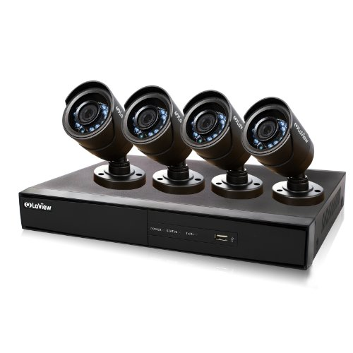 Best Prices! LaView 4 Channel Complete 960H Security System w/Remote Viewing, 500 HDD, 4 x 600TVL Bu...