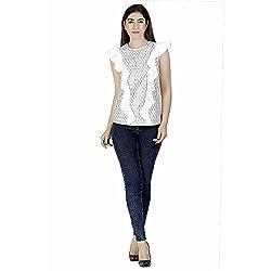 Gudi Women's Cotton Sequin Top_G5119WHITE-M_White_M