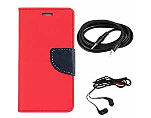 Avzax Diary Look Flip Wallet Case Cover For Sony Xperia Z2 (Red) + Aux Cable + In Ear Headphone