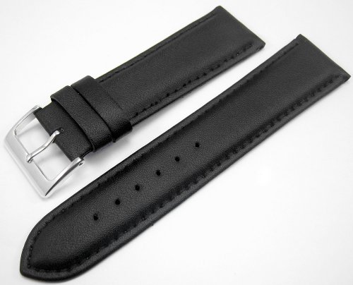 Black Padded Leather Watch Strap Band With A Stitched Edging And Nubuck Lining 22mm