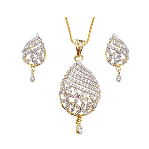 Sheetal Jewellery Silver & Golden Brass & Alloy Pendant Set For Women - B00TIGZWNC