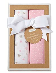 MUD PIE HEART BAMBOO SWADDLES SET