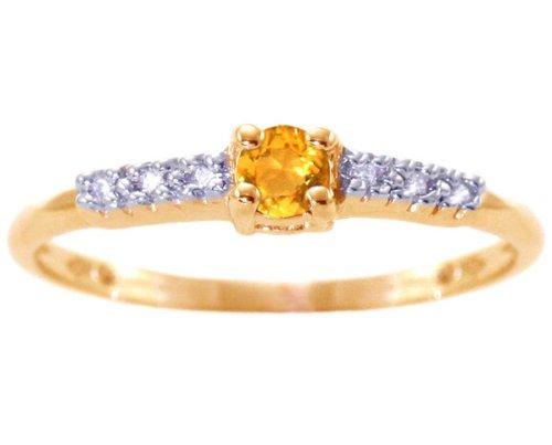 14K Yellow Gold Petite Round Gemstone and Diamond Promise Ring-Citrine, size6