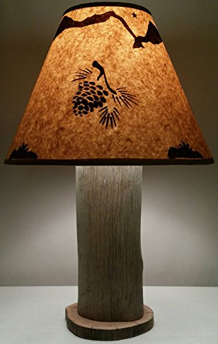 Pine Cone Lamp Authentic Hawaiian Hardwood With FREE Lampshade! Made In Hawaii! Rustic Log Furniture Lodge Western Ranch Yellowstone Decor Cabin (Log Cone compare prices)