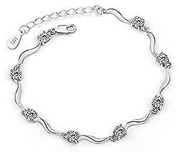 Shining Diva Fashion Sterling-Silver Crystal Chain Bracelet For Girls