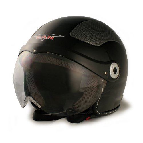 VCAN V528 Milano Black Medium European Style Open Face Helmet