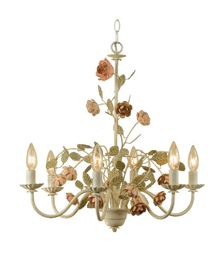 AF Lighting 7050-6H Ramblin' Rose 6 x 60-Watt Candle Base Chandelier, Cut Metal with Antique Cream Finish