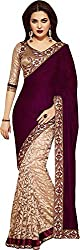 Ecoco Fashion Women's Georgette Saree (ECOCO-SAREEPLUS, Maroon)