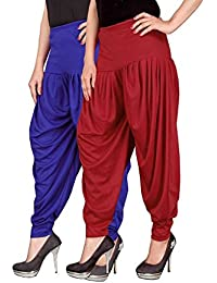 Navyataa Women's Lycra Dhoti Pants For Women Patiyala Dhoti Lycra Salwar Free Size (Pack Of 2) Blue & Red