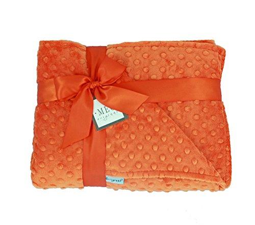 MEG Original Baby Minky Dot Crib/Nursery Blanket, Double Sided Orange 644 - 1