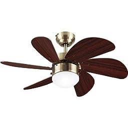 30\'\' Turbo Swirl Ceiling Fan/Lamp, 6 Walnut Blades with Antique Brass, Multicolor