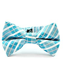 Littlest Prince Couture Turquoise and White Squares Youth/Adult Bow Tie 8 Years - Adult