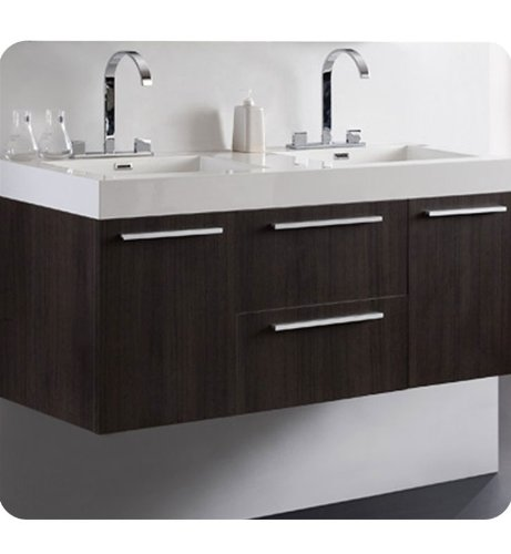 Fresca Opulento Grey Oak Modern Double Sink Bathroom Vanity W/Medicine Cabinet