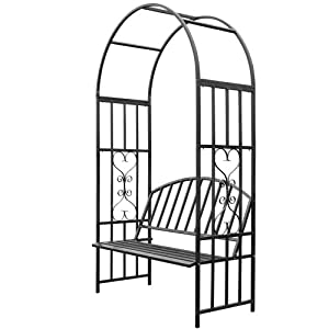 Jago RSBG03 Rose Arch with Bench for climbing plants of all kinds Weatherproof about 205 x 114 x 50 cm (HxWxD)