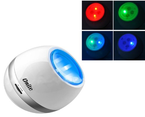 Onite® Dazzle Multi-Colour Changing Rechargeable Led Light Speakers With Fm Function, Aux Input Port, Rgb Mood Dream Atmosphere Music Lamp Loudspeaker, White