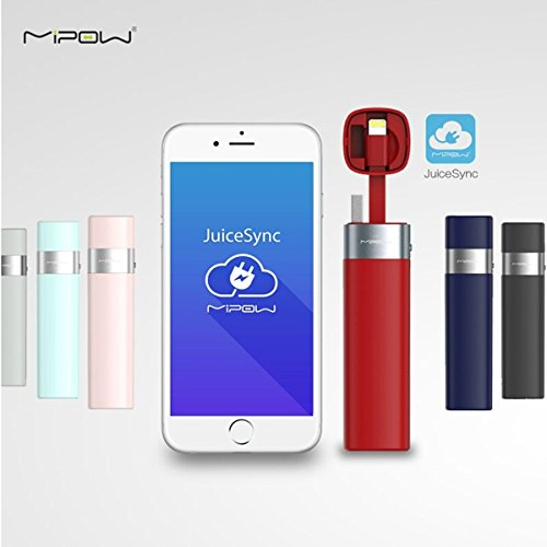 US Shipping MIPOW Power Bank Battery 3000mAh Smart APP Portable Mini Charger with MFI Lightning Cable for iPhone 6 6S Plus 5 5S iPod Apple (Jump Starter Mobile Power 2001 compare prices)