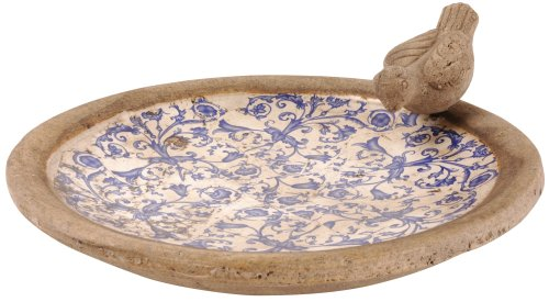 Esschert Design USA Ceramic Birdbath-Blue/White