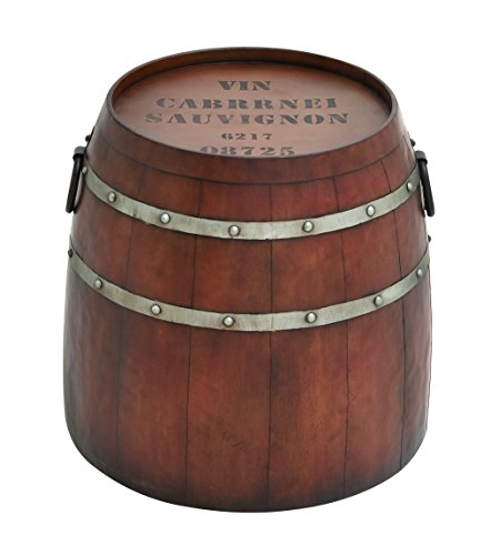 Benzara American Cowboy Themed Classy Metal Barrel Table, 20.47 By 20.47 By 20.47-Inch, Metallic
