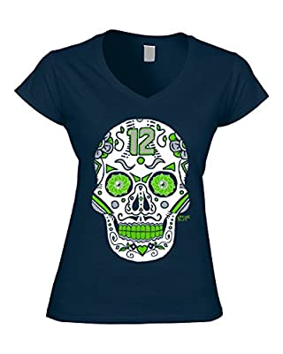 Seattle Seahawks Sugar Skull Ladies Shirt - Navy