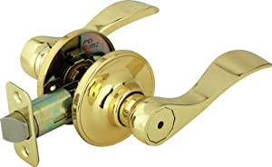 Legend 809120 Wave Style Lever Handle Privacy Bed and Bath Leverset Lockset, US3 Polished Brass Finish