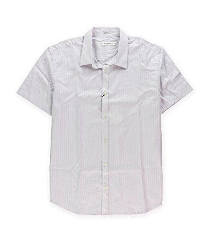 Calvin Klein Mens Micro Dot Button Up Dress Shirt Lavendar L