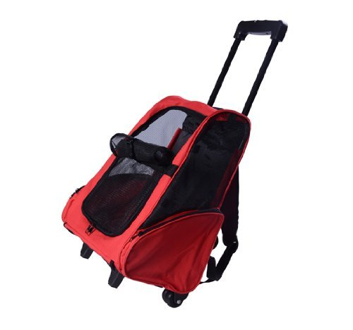 Pawhut Deluxe Pet/Dog Travel Carrier Backpack with Wheels, Red