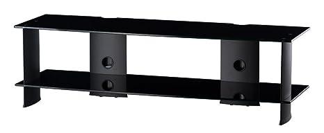 RO & Co m-1502NN Waschtisch TV-Regal 2. Glas schwarz/Gestell schwarz. Breite 140cms.