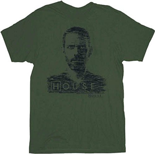 House M.D. Dr. House Type Face Military Green Adult T-Shirt Tee (X-Large)