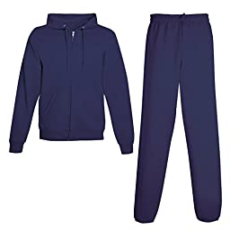 Hanes Men\'s ComfortBlend EcoSmart Sweatsuit, Top: XL / Bottom: L, Navy
