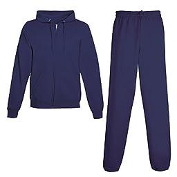 Hanes Men\'s ComfortBlend EcoSmart Sweatsuit, Large, Navy