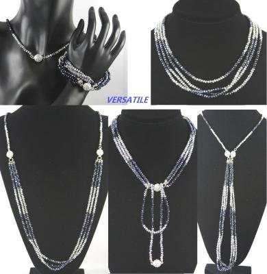 Silver and Blue Multi Function Austrian Crystal Necklace Bracelet Combo with Magnetic Crystal Balls