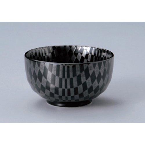 Ramen Soba Udon Noodle Bowl utw409-21-674 [5.1 x 2.8 inch] Japanece ceramic Checkered black heavy pot tableware (Udon Noodle Pot compare prices)