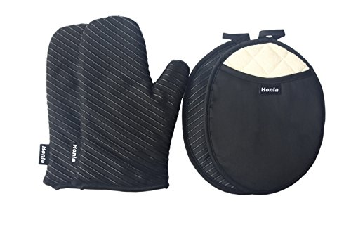 Honla Silicone Striped Pot Holders and Oven Mitts/Gloves-Quilted Cotton&Terry Cloth Lining,4-Piece Heat Resistant Kitchen Linens Set for Grilling,BBQ,Baking,Cooking-2 Hot Pads and 2 Potholders,Black (Pot Holders And Oven Mitts Sets compare prices)
