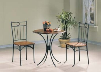 Bistro Metal & Wood Dining Tea Table & 2 Chairs 3 Piece Set By Coaster Furniture