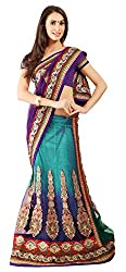 Jiya Fashion Women's Net Lehenga Choli (Blue and Purple)