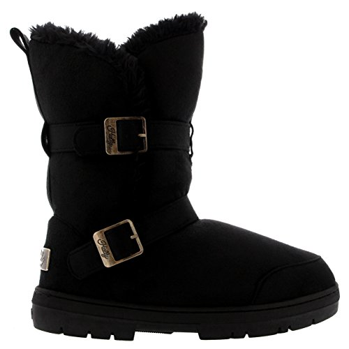 womens-twin-buckle-short-fur-lined-waterproof-winter-rain-snow-boots-black-7