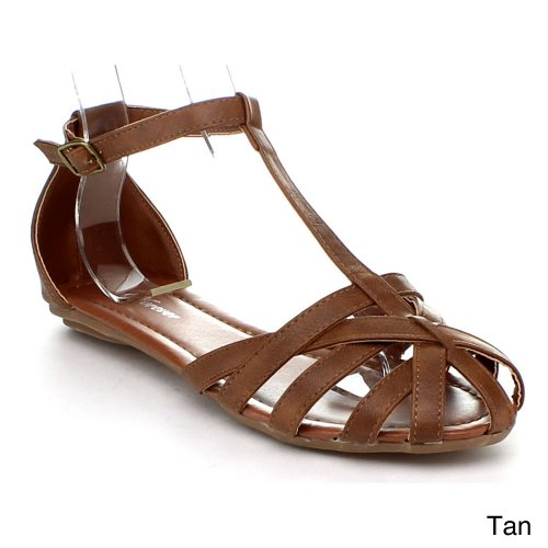 Forever Vera-85 Women'S Hot New T-Strap Flat Comfort Gladiator Sandal Shoes, Color:Tan, Size:7 front-418538