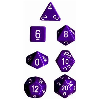 Polyhedral 7-Die Opaque Chessex Dice Set - Purple with White Numbers