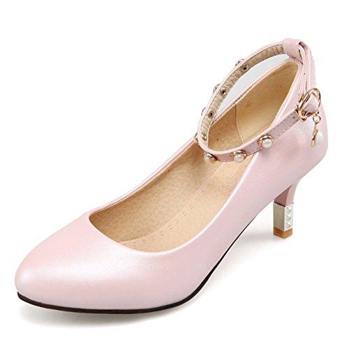 Scarpe primavera/Ogni parola nella versione coreana delle scarpe a spillo testa tonda shallow bocca cinturino/Tacco alto/ scarpe con piccolo-A Lunghezza piede=24.3CM(9.6Inch)