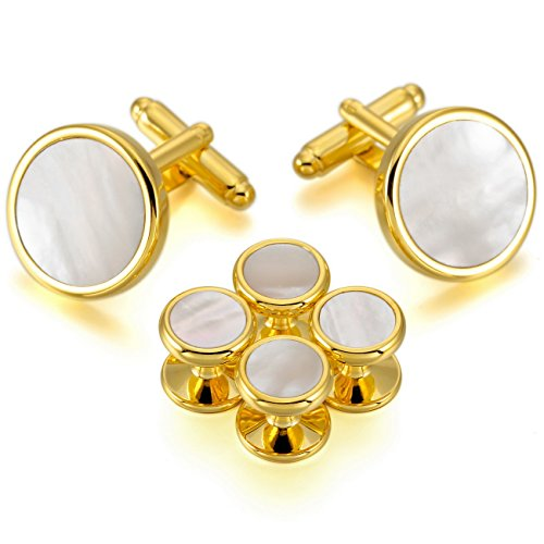 MOWOM-Gold-Silver-White-Rhodium-Plated-Mother-of-Pearl-Abalone-Shell-Cufflinks-Round-Stud-Set-Tuxedo